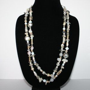 Glass, shell and stone bead necklace 56""